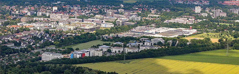 Start-ups and technology transfer: The Technology Park and Paderborn University - view from southwest. (June 2018)