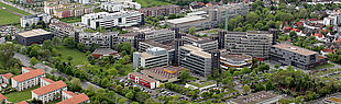 Paderborn University, aerial central location from Southeast (05/11/2015)
