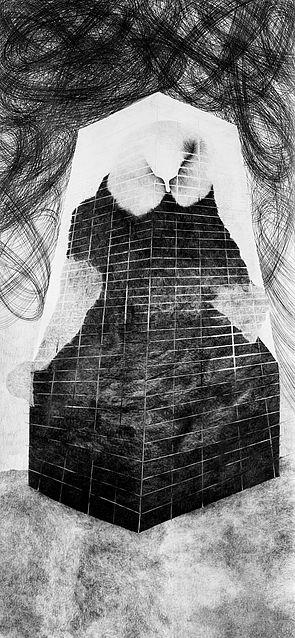 Eulen.zischen, 2013, Bleistift auf Papier, 140 x 75 cm