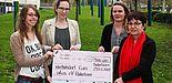 Foto (Universität Paderborn, Johannes Pauly): Freuen sich über die Spende für oikos (v. li.): Lea Bergmann, Julia Kaltschmidt, Rebecca Schulte und Prof. Dr. Birgit Riegraf.