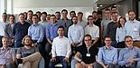 Foto (KfW Frankfurt): Studierende und Professoren des Departments Wirtschaftsinformatik beim Besuch in der Zentrale der KfW im Rahmen der Winfo-Exkursion 2019 nach Frankfurt.