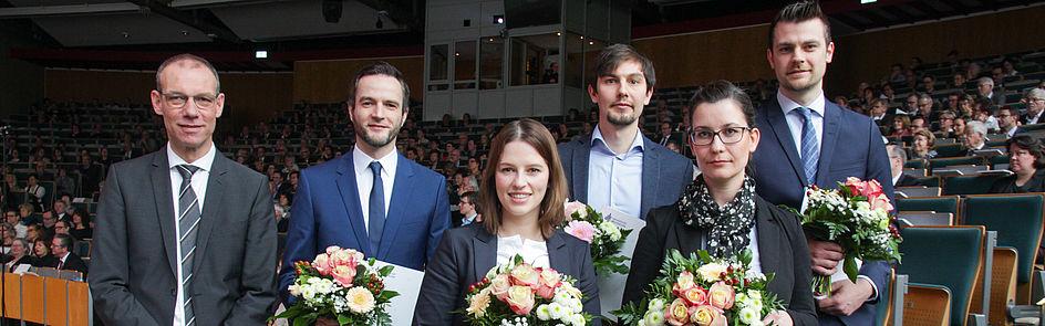 Preiträger*innen für ausgezeichnete Dissertationen 2019 (Foto: Universität Paderborn, Jennifer Strube)