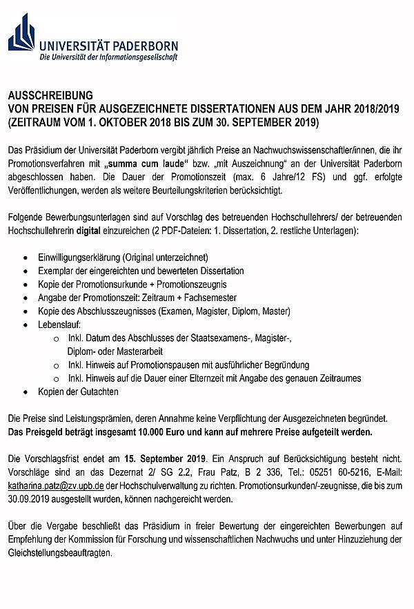 Universitat Paderborn Nachricht Ausschreibung