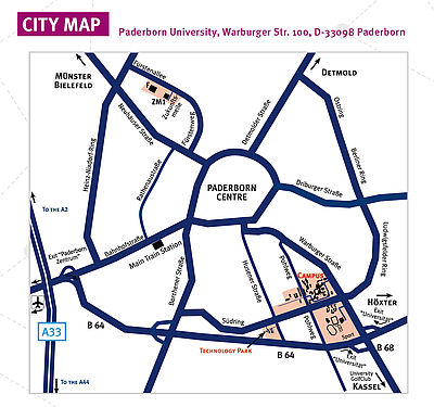 Paderborn city map