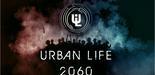 """Screenshots: Ansichten einer Spieler-Wohnung, einer Stadt und eines Stadtteils, außerdem das """"Urban Life-Logo"""""""