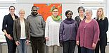 Foto (Sandra Erdmann, PLAZ): (v. l. n. r.) Katharina Gefele (PLAZ), Caroline Struchholz (Erziehungswissenschaft), Nicholas Omondi (Lwak), Prof. Dr. Christine Freitag (Erziehungswissenschaft), Syphrose Akello (Lwak), Dr. Annegret Hilligus (PLAZ), Erika Wie