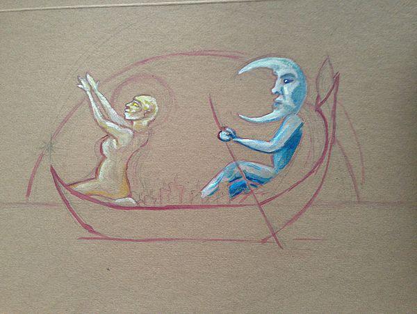 "Foto (Universität Paderborn, Jutta Ströter-Bender): Acryl-Skizze: ""Das Mondboot von Marcel Moritz."