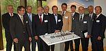Foto: Redner und Diskussionsteilnehmer der Veranstaltung (v. li.): Dr. Wolfgang Kern, Dr. Kurt Beiersdörfer, Hubertus Benteler, Prof. Dr. Franz Wagner, Bürgermeister Heinz Paus, Lothar Pelz, Dr. Jens Baganz, Prof. Dr. Nikolaus Risch, Prof. Dr. Dieter Ti