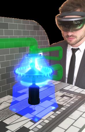 Bild (Fraunhofer IEM): AR in der Entwicklung: Ein Prototyp wird virtuell über eine AR-Brille an seinen späteren Einsatzort projiziert.