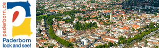 "Logo ""paderborn.de, Paderborn look and see!"" - Aerial view from the centre of Paderborn"