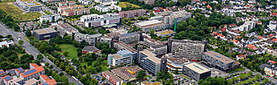 Paderborn University, aerial central location from Southeast (07/22/2019)