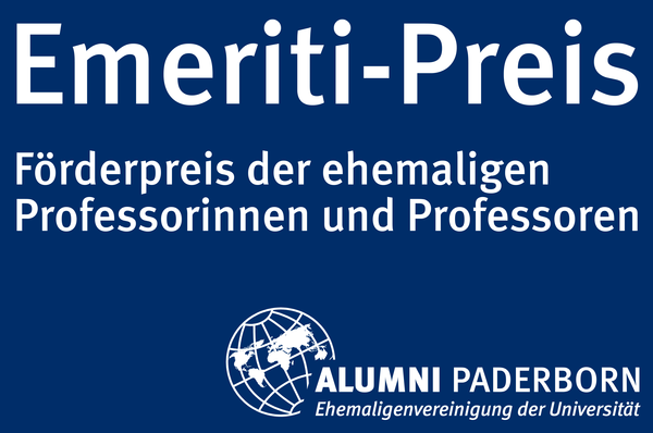 Foto (Universität Paderborn, Patrick Kleibold): Logo Emeriti-Preis: Ehemalige Professorinnen und Professoren engagieren sich für die aktiven Studierenden der Hochschule und finanzieren den Emeriti-Preis, ein Stipendium für eine Studentin oder einen Stu