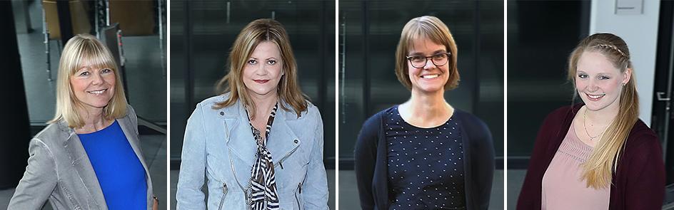Mitarbeiterinnen der Stabsstelle Marketing (v.l.):  Ramona Wiesner, Nicola Danielzik, Nadine Wirtz und Leonie Oberheuser.