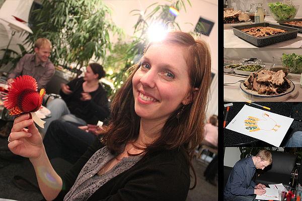 Fotos (Linda Krahn): Englisch-Dozentin Marion Zurborg und der Thanksgiving-Truthahn.