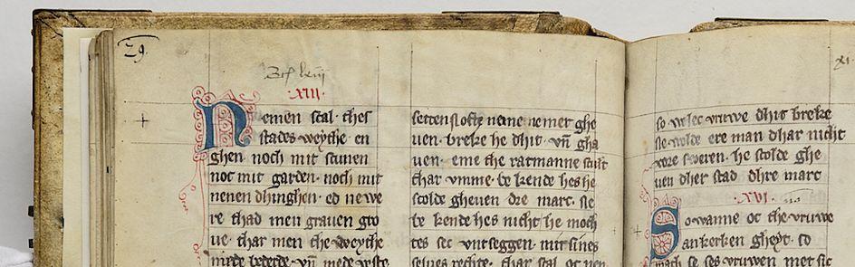 Stadtrecht Bremen aus dem Jahr 1303/04, Handschrift StAB 2 P 5.b.2a1; bezogen vom Bremer Staatsarchiv.