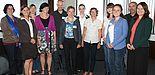 Foto (Universität Paderborn, Frauke Döll): Die Kooperationspartner des Projektes MeCoPflege (v. l.): Barbara-Venhaus Schreiber (Bremer Krankenpflegeschule e.V.), Eva Theune (Caritasverband Paderborn e.V.), Dr. Desireé Grothues (DLR (Projektträger)), B