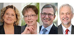 Abbildung: (v. l. n. r.) NRW-Wissenschaftsministerin Svenja Schulze, Regierungspräsidentin Marianne Thomann-Stahl, Michael Dreier, Bürgermeister der Stadt Paderborn, und Prof. Dr. Wilhelm Schäfer, Präsident der Universität Paderborn.