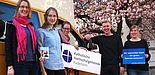 Foto (KHG Paderborn): Sommer, Sonne, Sinn: (v. l.) Leonie Wulf, Elisabeth Schröttke, Inga Bolte, Studierendenpfarrer Nils Petrat und KHG-Referentin Simone Wiedeking.