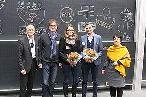 Foto (Universität Paderborn, Björn Heerdegen): Prof. Dr. Niclas Schaper, Prof. Dr. Rüdiger Kabst, Eva Alexandra Schmitz, Dr. Rodrigo Isidor und Prof. Dr. Birgit Riegraf (v. l.).