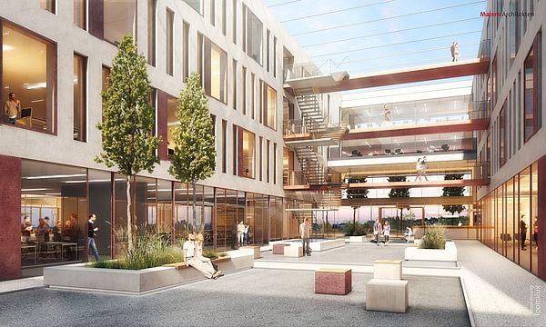 """Abbildung: Viel Wert wird bei dem Gebäude auf die Architektur und Innenarchitektur gelegt, welche den Aspekt """"New Work"""" fördern soll."""