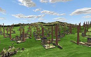 Dreidimensionale Landschaftsszene aus 3D-CAD-Daten