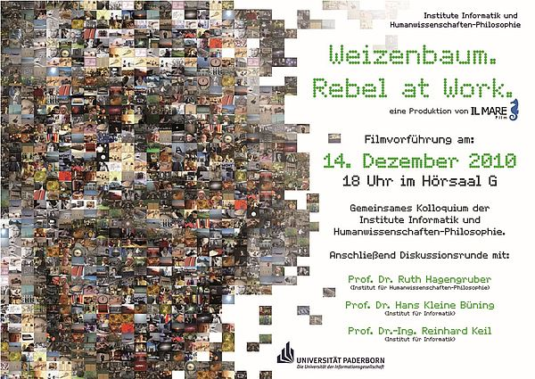 """Abbildung: Ankündigung von """"Weizenbaum. Rebel at Work"""""""