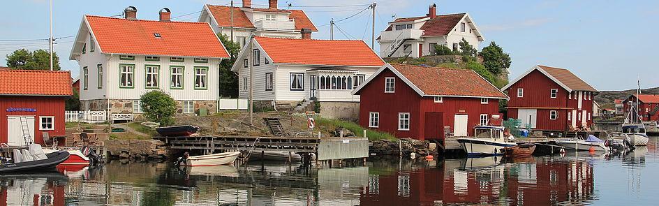 Am Hafen der Insel Gullholmen an der Westküste Schwedens