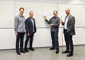 Foto (Universität Paderborn): Das Forscherteam aus Paderborn (v. l.): Dr. Uwe Gerstmann, Jun. Prof. Dr. Simone Sanna, Dr. Andreas Lücke und Prof. Dr. Wolf Gero Schmidt.