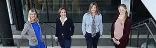 Mitarbeiterinnen der Stabsstelle Marketing (v.l.):  Ramona Wiesner, Leiterin Christina Cramer, Nicola Danielzik und Leonie Oberheuser.