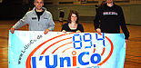 Foto: Haye Rosenbusch (Co-Trainer der webmoebel Baskets), Marie Schwabe (Sportreporterin L'UniCo), Ben Spöler (Centerspieler der webmoebel Baskets) (v.r.n.l.)