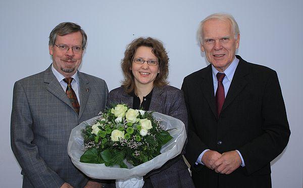 Drei Leibniz-Preisträger: Informatik-Professor Friedhelm Meyer auf der Heide, Physik-Professorin Christine Silberhorn und der emeritierte Geschichts-Professor Winfried Schulze.
