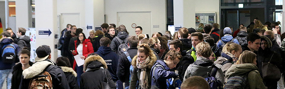 The event taking place at the foyer and other parts of the campus is popular among young people interested in studying.