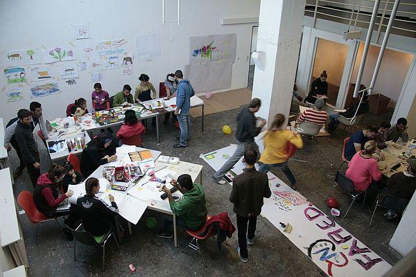 Foto (Universität Paderborn, Fach Kunst): Blick ins Atelier.