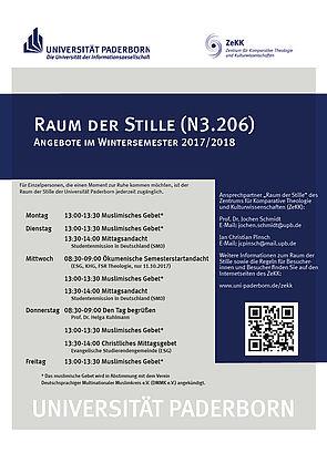 Raum der Stille – Angebot im Wintersemester 2017/18