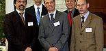 Foto (Adelheid Rutenburges): Veranstalter und Referenten des 1. Paderborner Tages der IT-Sicherheit (v. links): Prof. Dr. Gregor Engels, Dirk Reinermann, Prof. Dr. Johannes Blömer, Dr. Michael Laska, Andreas Kleine.