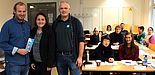 V. l.: Dennis Fergland, Annika Ballhausen (Career Service) und Hans-Norbert Blome (Techniker Krankenkasse) freuen sich über das Interesse der Studierenden an den Workshops des Career Service.