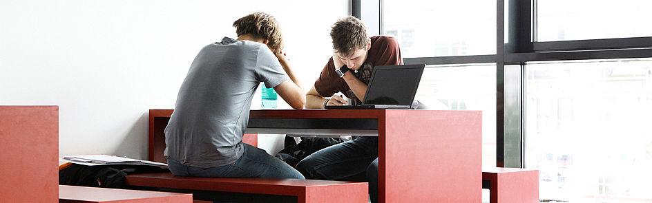 Lernen auf dem Campus: Viele Studierende nutzen die zahlreichen Arbeitsplätze, um zwischen den Veranstaltungen zu lernen.