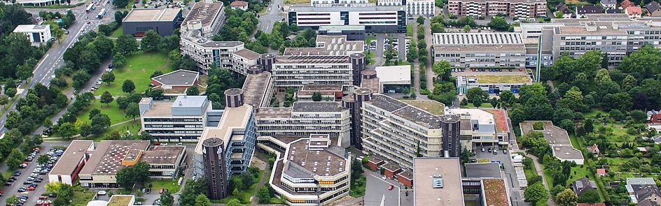 Der Blick Richtung Westen auf den Campus.
