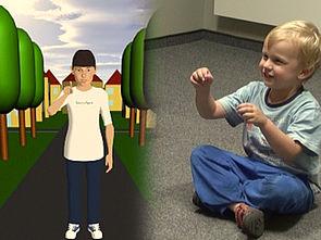 Foto (CITEC/Universität Bielefeld): Ein Modell soll zeigen, wie Kinder Gesten beim Sprechen einsetzen.
