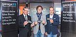 Foto (Universität Paderborn, Johannes Pauly): Sie starten 'garage33' als Silicon Valley in OWL (v. l.): Bürgermeister Michael Dreier, Prof. Dr. Rüdiger Kabst, Vizepräsident für Technologietransfer und Marketing der Universität sowie TecUP-Chef u
