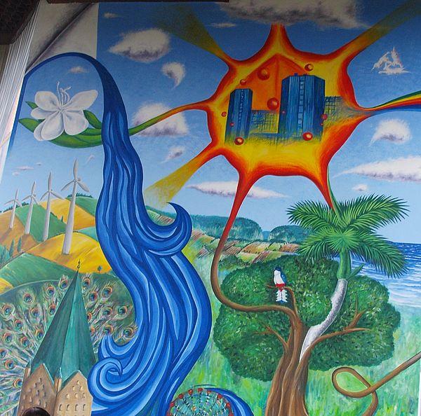 Foto (Universität Paderborn, Martin Decking): Auch die Gebäude der Universität Paderborn finden sich im Wandbild des kubanischen Künstlers Abel Morejón Galá wieder.