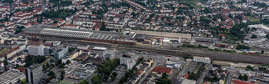 Ankommen in Paderborn: Das Schienennetz am Hauptbahnhof – Ansicht von Nordwest. (Juni 2018)
