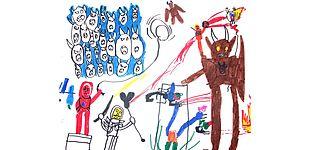 "Abbildung: ""Masters oft he Universe"". Filzstiftzeichnung (A3), Junge (5 Jahre alt), Copyright Christoph Scholter."