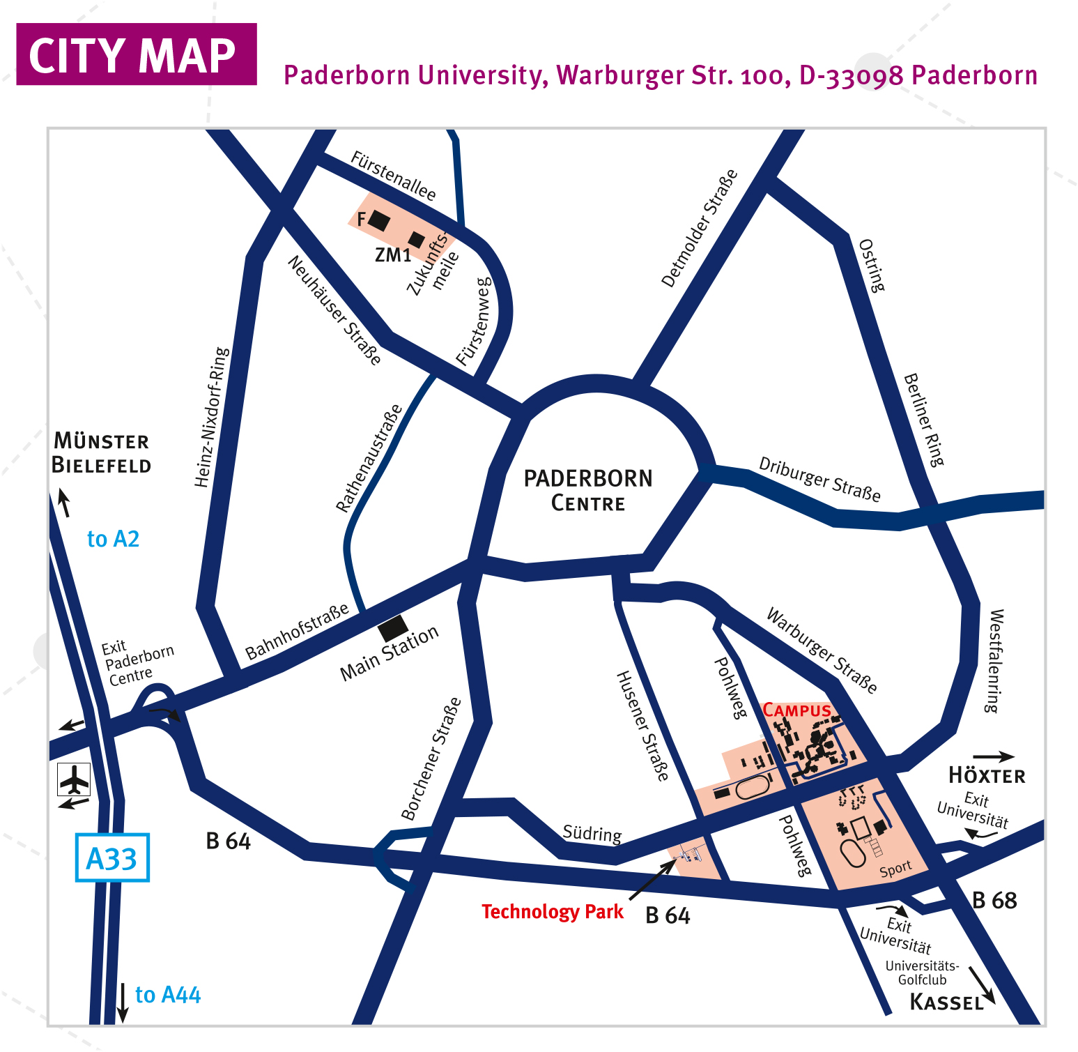 Universitat Paderborn How To Get Here Campus Map