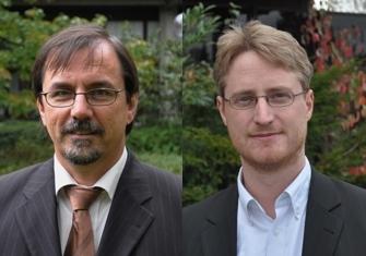 Foto (Universität Paderborn, Mark Heinemann): Juniorprofessor Dr.-Ing. André Brinkmann und Prof. Dr. Gregor Engels referieren zum Thema Cloud Computing.
